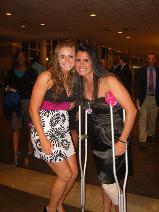 At the GSU Athletic Banquet, sporting my ACL tear and crutches.